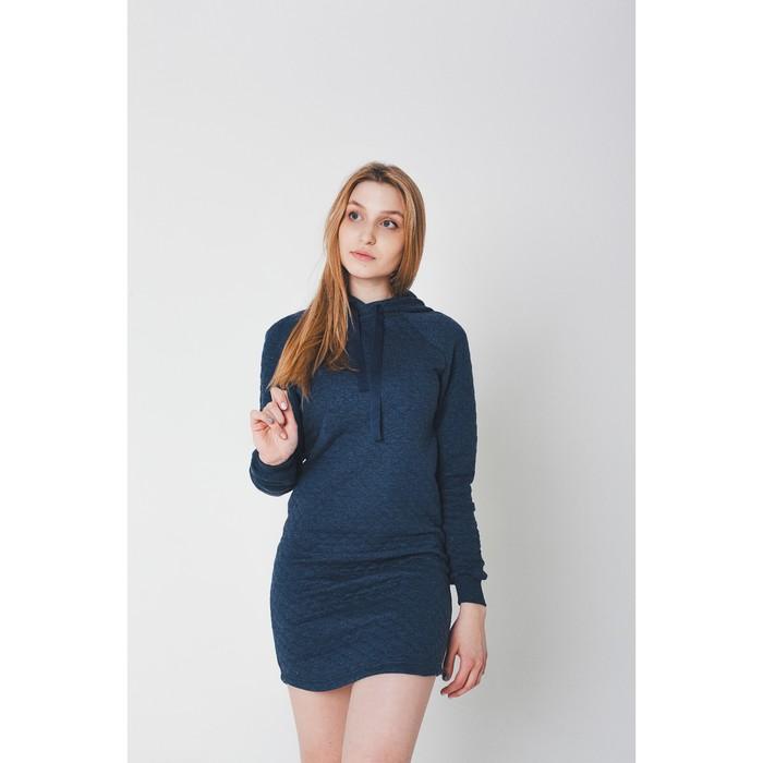 Платье женское KAFTAN с капюшоном, р-р 48-50, индиго, 60% хл., 40% п/э