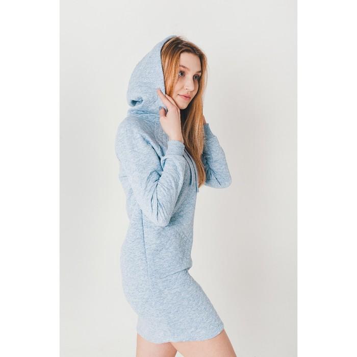 Платье женское KAFTAN с капюшоном, р-р 48-50, голубой, 60% хл., 40% п/э
