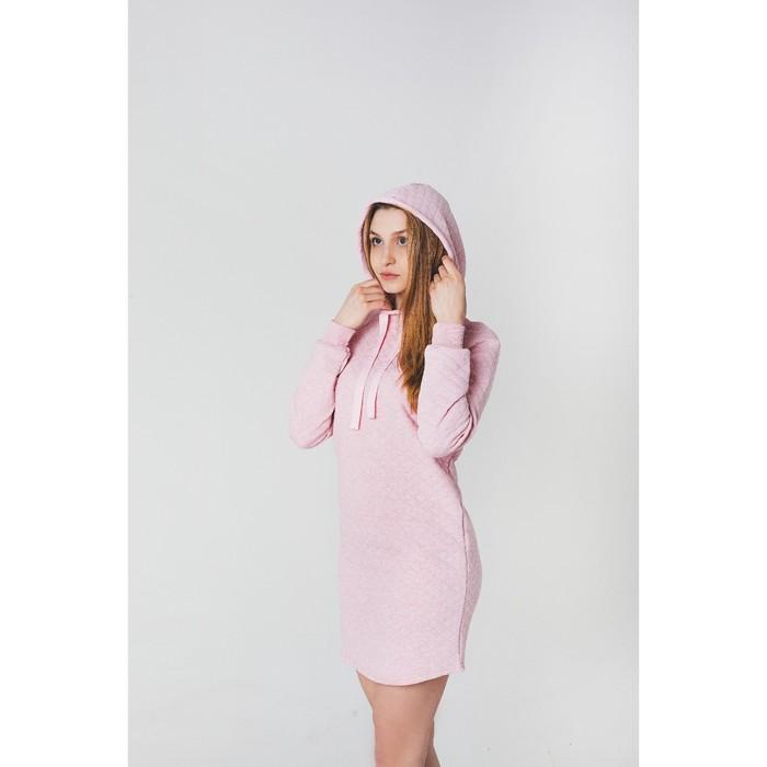 Платье женское KAFTAN с капюшоном, р-р 48-50, розовый, 60% хл., 40% п/э