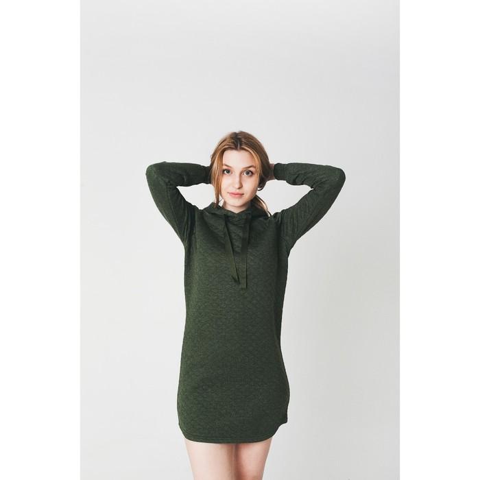 Платье женское KAFTAN с капюшоном, р-р 48-50, хаки, 60% хл., 40% п/э