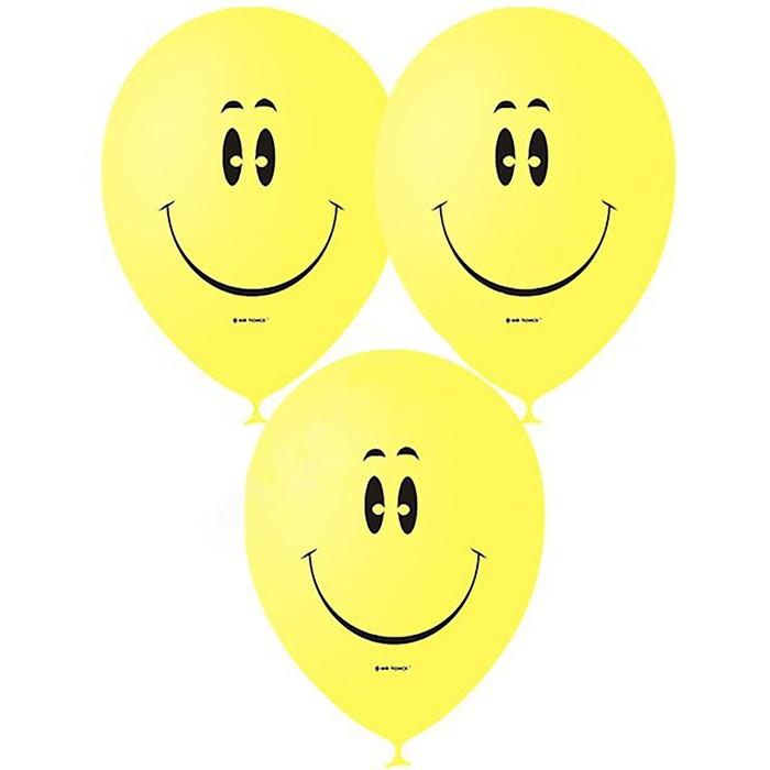 """Шар латексный 12"""" «Смайл», пастель, 1-сторонний, набор 50 шт., цвет жёлтый - фото 953992"""