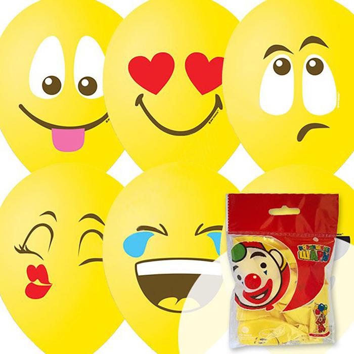 """Шар латексный 12"""" «Эмоции. Смайл», пастель, 1-сторонний, набор 10 шт., цвет жёлтый - фото 7639565"""