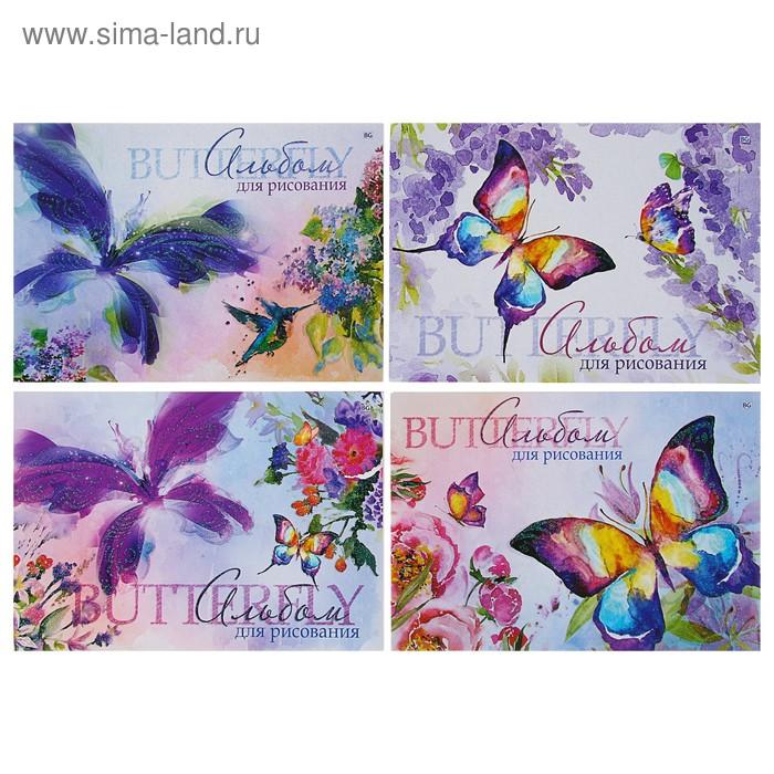 """Альбом для рисования А4, 40 листов на клею """"Бабочки"""", мелованный картон, микс"""