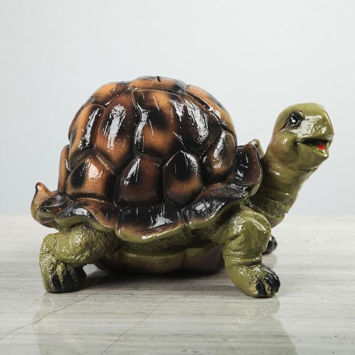 "Копилка ""Черепаха"", глянец, зелёная, 17 см"