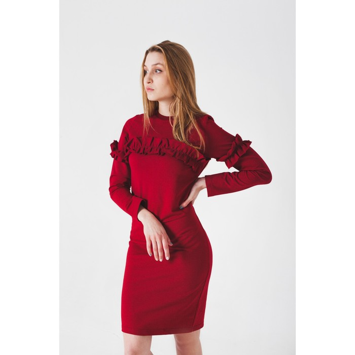 Платье женское KAFTAN с рюшей, р-р 48-50, бордо