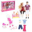 """Кукла семья """"Джинни"""", папа, беременная мама, дочка в коляске, одежда и аксессуары"""