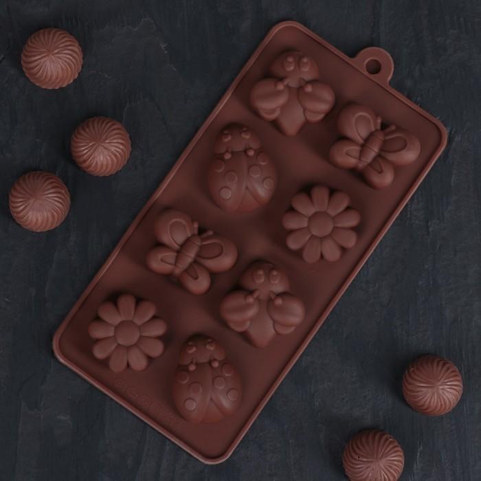 """Форма для льда и шоколада, 8 ячеек, 20х10х2 см """"Пыльца"""""""