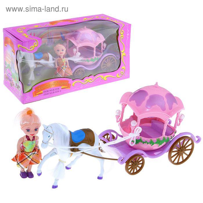 """Карета """"Сказочная"""" с лошадкой и куклой малышкой, МИКС"""