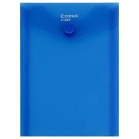 Папка-конверт на кнопке А6 Comix вертик 156*115мм 180мкм  синий  А1856 Ош