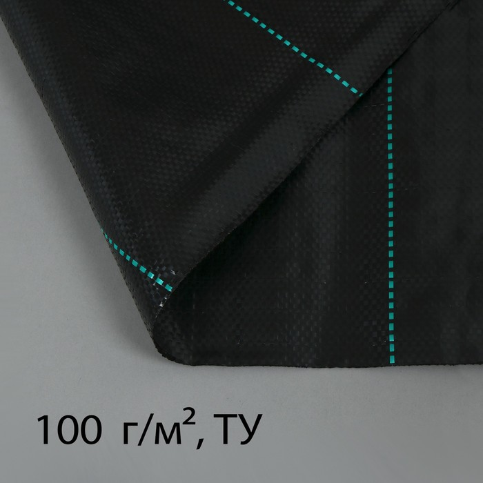 Агроткань застилочная, с разметкой, 10 × 2,5 м, плотность 100 г/м², полипропилен, чёрная, «Крон»