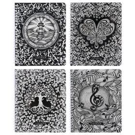 Тетрадь 96 листов в клетку, на гребне «Бело-чёрная», картонная обложка, МИКС