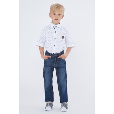 Брюки джинсовые для мальчиков, рост  116 см, цвет синий 2060