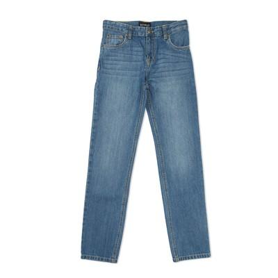 Брюки джинсовые для мальчиков, рост  140 см, цвет синий 2061