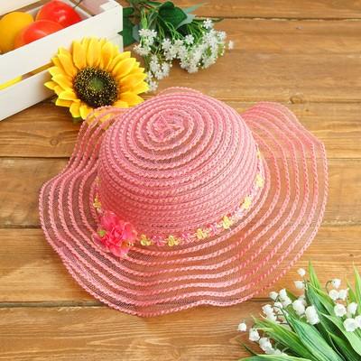 Карнавальная шляпка детская с цветочками р-р 50-52 см, цвет розовый