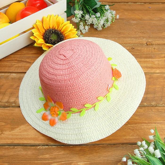 """Шляпка детская """"Цветок"""", р-р 50-52 см, цвет розовый, цветочки МИКС"""