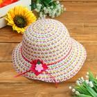 Шляпка детская с цветком, р-р 50-52 см, цветная