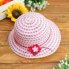 Шляпка детская с цветком, р-р 50-52 см, цвет розовый