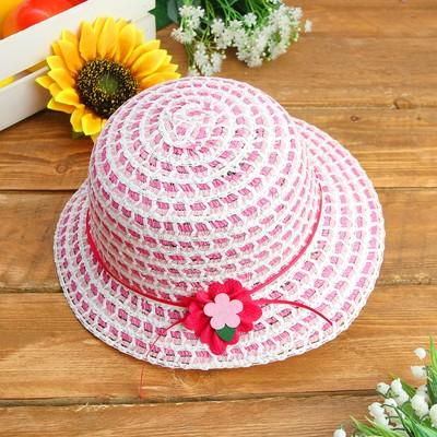 Карнавальная шляпка детская с цветком р-р 50-52 см, цвет розовый