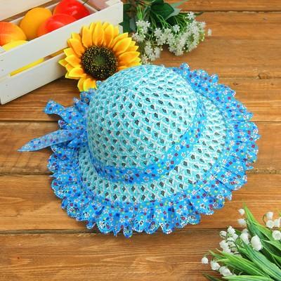 """Карнавальная шляпка детская """"Цветочки"""" с бантиком р-р 50-52 см, цвет голубой"""