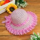 """Шляпка детская """"Цветочки"""" с бантиком, р-р 50-52 см, цвет розовый"""