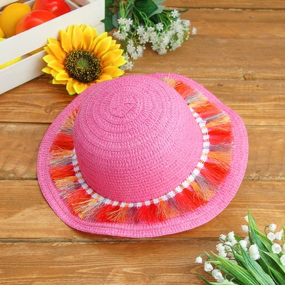 """Карнавальная шляпка детская """"Косички"""" р-р 50-52 см, цвет розовый"""