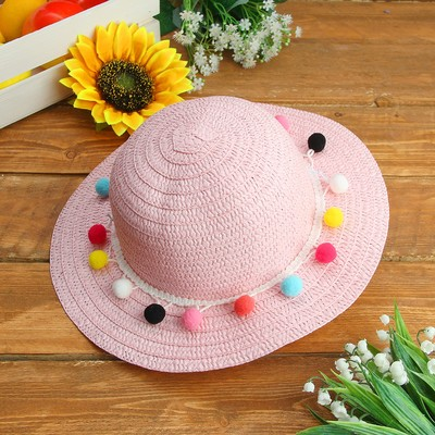 """Карнавальная шляпка детская """"Шарики"""" р-р 50-52 см, цвет светло-розовый"""