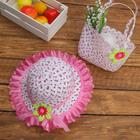 Набор сумочка и шляпка с цветочком р-р 50-52 см, цвет светло-розовый