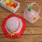 Набор сумочка и шляпка с цветочком р-р 50-52 см, цвет красный