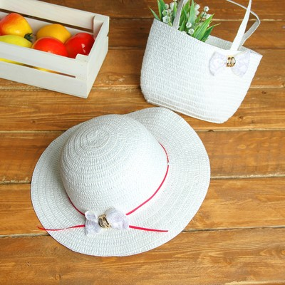 Набор сумочка и шляпка с бантиком р-р 50-52 см, цвет белый