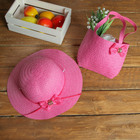Набор сумочка и шляпка с бантиком р-р 50-52 см, цвет розовый
