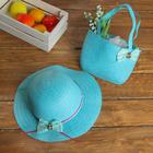Набор сумочка и шляпка с бантиком р-р 50-52 см, цвет голубой