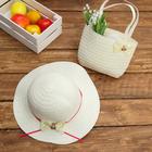 Набор сумочка и шляпка с бантиком р-р 50-52 см, цвет бежевый