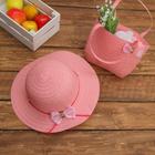 Набор сумочка и шляпка с бантиком р-р 50-52 см, цвет светло розовый