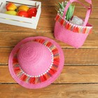 Набор сумочка и шляпка с кисточками р-р 50-52 см, цвет розовый