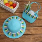 Набор сумочка и шляпка с кисточками р-р 50-52 см, цвет голубой