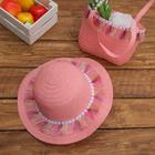 Набор сумочка и шляпка с кисточками р-р 50-52 см, цвет светло розовый