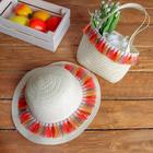 Набор сумочка и шляпка с кисточками р-р 50-52 см, цвет бежевый