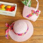 Набор сумочка и шляпка с бантом р-р 50-52 см, цвет светло-розовый