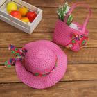 Набор сумочка и шляпка с бантом р-р 50-52 см, цвет розовый