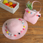 Набор сумочка и шляпка с шариками р-р 50-52 см, цвет светло-розовый