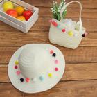 Набор сумочка и шляпка с шариками р-р 50-52 см, цвет белый