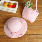 Набор сумочка и шляпка с бантиком р-р 50-52 см, цвет светло-розовый