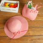 Набор сумочка и шляпка с бантиком, р-р 50-52 см, цвет розовый