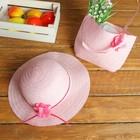 Набор сумочка и шляпка с цветком р-р 50-52 см, цвет светло-розовый