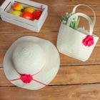 Набор сумочка и шляпка с цветком р-р 50-52 см, цвет белый