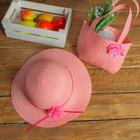 Набор сумочка и шляпка с цветком р-р 50-52 см, цвет светло розовый