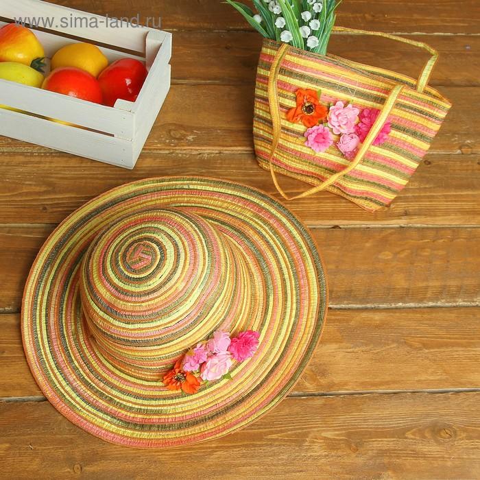 "Набор сумочка и шляпка ""Цветочки"" р-р 50-52 см"
