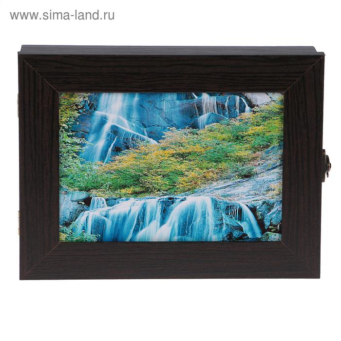 """Ключница  """"Водопад в горах"""" венге 18х23х5 см"""