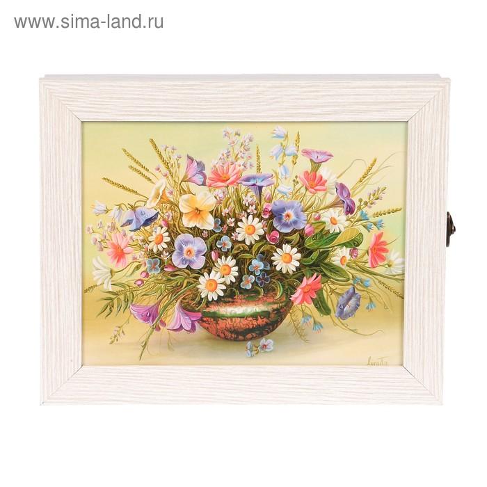 """Ключница """"Цветы в вазе"""" молочный дуб 25х30х5 см"""