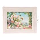 """Ключница  """"Цветы в саду"""" молочный дуб 18х23х5 см"""
